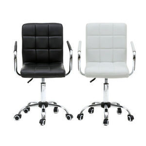 Office Executive Mid back Chair Adjustable Height Desk Seat Swivel Black white
