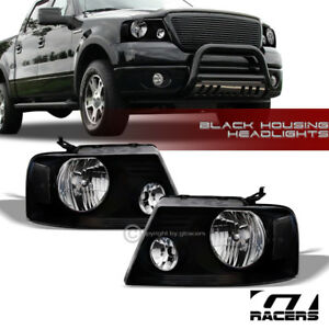 For 2004 2008 Ford F150 Oe Crystal Black Housing Headlights Signal Lamps Pair Nb