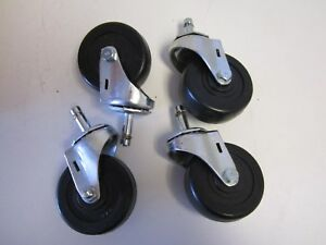 Lot Of 4 Wagner Rubber 3 X 1 1 4 Wheel Swivel 1 3 8 X 7 16 Stem Casters New