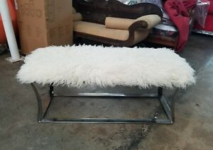 Fab 1970 S Chrome Flaired Leg Bench With Sheepskin Upholstery Hot