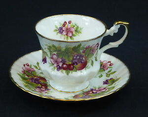 Rosina China Queens Cup And Saucer Footed Bone China England Fruit Pink Floral