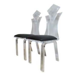 Pair Vintage Lucite Interior Concepts Dining Room Desk Side Chairs