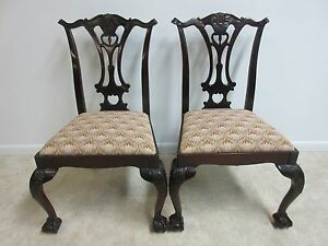 Pair Hickory Chair Company Mahogany Ball Claw Chippendale Dining Side Chair C