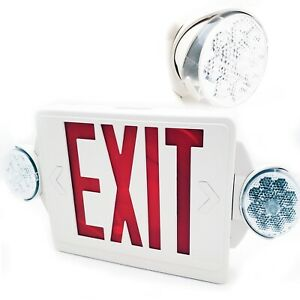 Lithonia Lighting 2 light Led White Exit Sign Emergency Combo Heads Red Stencil