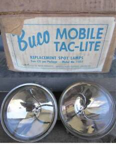 Set Of 2 Vintage Buco Spot Lamps Complette In Box Motorcycle Rat Rod