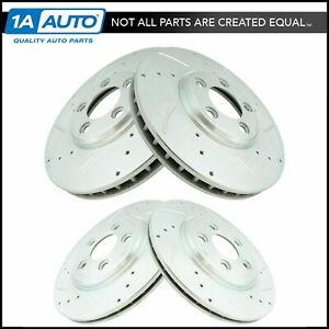 Front Rear Performance Drilled Slotted Zinc Coated Rotor Kit For Ford Jaguar