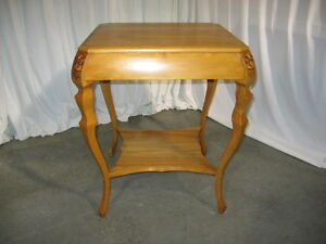 Antique Light Oak Square Lamp Table W Lions Heads Carved Corners