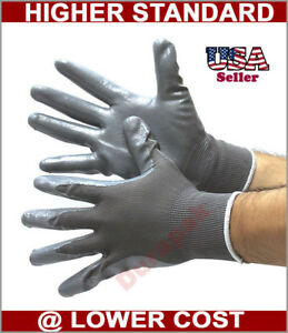 144 Pairs Gray Nylon Work Gloves W Gray Nitrile Palm Finger Coating S M L Xl
