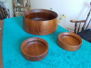 Vtg Dansk Designs Denmark Ihq Staved Wood Salad Serving Bowl Set Jens Quistgaard
