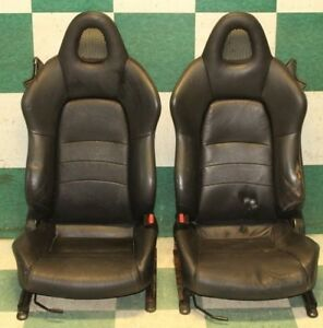 00 03 S2000 Black Ebony Leather Hot Rod Racing Buckets Interior Seats Tracks Oem