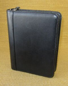 Classic 1 5 Rings Black Leather Franklin Covey Zip Planner binder Usa