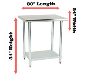 Stainless Steel Prep Work Table Station 24 X 30 Commercial Kitchen Undershelf