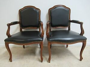 Pair Of Country French Leather Living Room Lounge Arm Chairs B