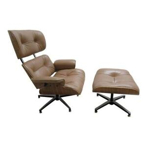 Vintage Mid Century Leather Zebra Wood Lounge Chair Ottoman Eames Style