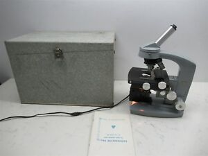American Optical Ao Spencer The Microscope W Case 4 Objective Lenses