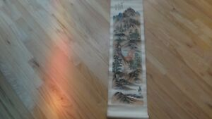 Old Chinese Landscaping Painting On Silk Scroll Signed