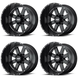 Set 4 18 Moto Metal Mo962 Black Milled Rims 18x10 6x5 5 24mm Lifted Gmc 6 Lug