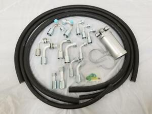 Universal 134a Air Conditioning Ac Hose Kit O Ring Fittings Silver Coated Drier
