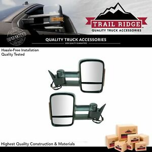 Trail Ridge Tow Mirror Power Heated Signal Black Pair For Chevy Gmc Pickup Truck