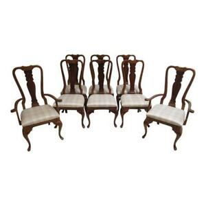 8 Vintage Cherry Queen Anne Dining Room Chairs Set