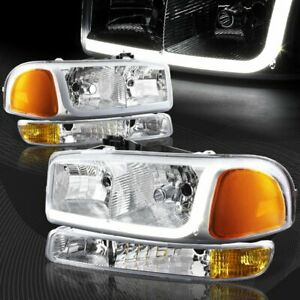 For 1999 2006 Gmc Sierra 1500 2500 Drl Led Chrome Amber Headlights bumper 4pcs