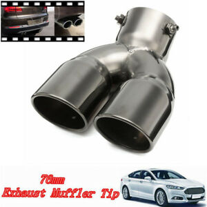 76mm 3 Universal Car Stainless Twin Double Exhaust Pipe Muffler Tail Tip Us