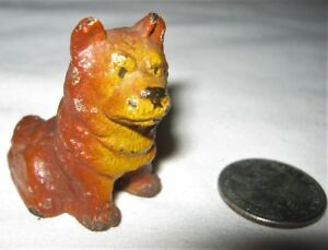 Antique Hubley Usa Cast Iron Husky Chow Dog Desk Art Paperweight Toy Statue Tool