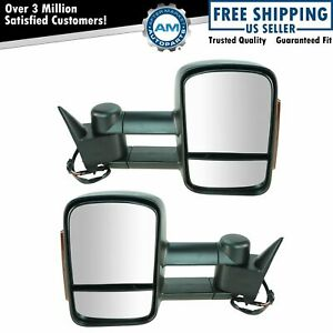 Towing Mirror Power Heated Signal Textured Pair For Chevy Gmc C k Pickup Truck