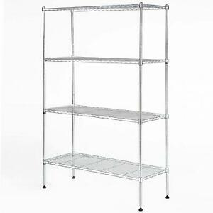 4 Tier Layer Wire Rack Metal Shelf Adjustable Unit Garage Kitchen Storage Chrome