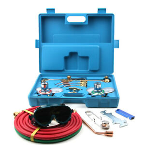 Oxygen Acetylene Welding Kit Cutting Welding Heating Hose Torches Goggles Case