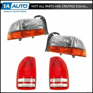 Headlight Tail Light Lamp Kit Set Of 4 For 97 04 Dodge Dakota Truck New