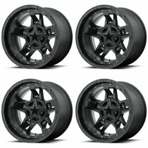 Set 4 17 Xd Series Xd827 Rockstar 3 Black Wheels 17x9 8x6 5 12mm Lifted Lug