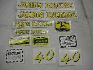 John Deere Model 40 Tractor Decal Set New Free Shipping