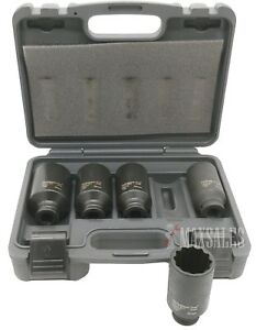 5pc 1 2 Dr 12 Point Spindle Axle Front Back Metric Nut Dp Impact Socket Set