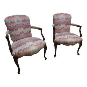 Pair Antique Flame Stitch Cherry Shell Carved Fire Side Hickory Lounge Chairs