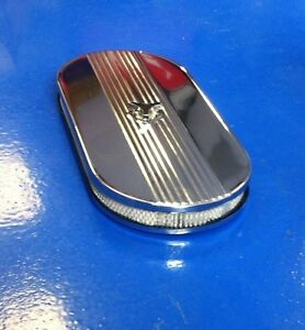 21 Finned Oval Cobra Style Dual Carb Air Cleaner Fits Ford Chevy Sbc Bbc