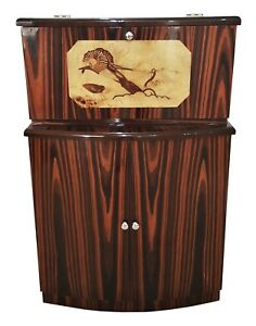 In 10 Weeks Quality Makassar Ebony Art Deco Style Bar With Ruhlman Marquetry