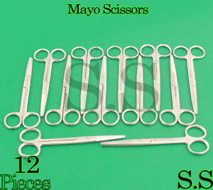 12 Mayo Dissecting Scissors Straight 6 Surgical Instruments