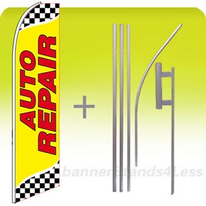 Auto Repair Swooper Flag Kit Feather Flutter Banner Sign 15 Set Checkered Yb