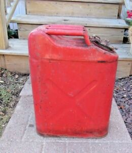 Vintage Us Military Red Metal Gasoline Jerry Can 5 Gallon Us b