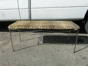 Sharp Chromed Mid Century Modern Architectural Long Bench Leopard Top