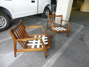 Pair Of Mid Century Danish Modern Flaired Arm Lounge Chairs