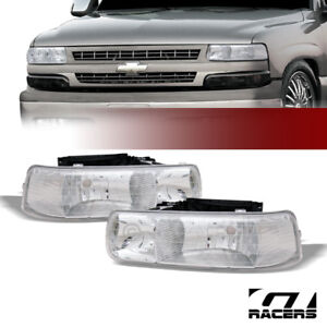 For 1999 02 Silverado 00 06 Tahoe Suburban Chrome Clear Headlights Headlamps Dy
