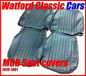 Mgb Roadster And Gt Pair Of Seat Covers 1970 1981 Leather Look All Black