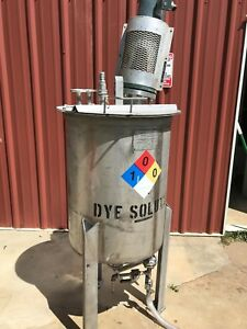 70 Gallon Mixing Tank W 1 3 Hp Mixer Cone Bottom Hinged Lid Heavy Duty