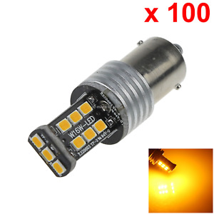 100x Yellow Car 1156 Running Light Turn Blub 15 2835 Smd Led S25 7506 D086