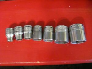 Lot Of 7 Used Snap On Tools 3 8 Drive Sockets 6 Point
