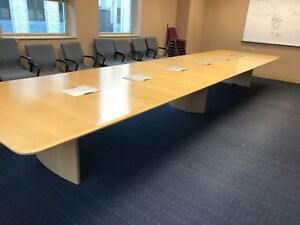 20 w X 5 d X 28 1 2 h Conference Table In Maple Finish Wood Veneer