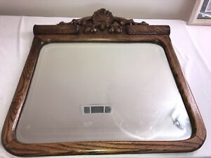Antique Solid Oak Victorian Wood Framed Wall Mirror Pick Up Only