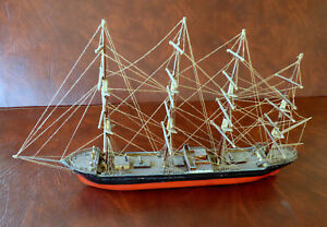 Antique Full Rigged Four Masted Sailing Ship Model